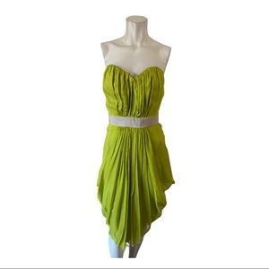 Arthur Mendonca Green Strapless Silk Dress Size 4